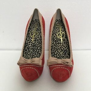Jessica Simpson Jeorge Red Leather High Heel Shoes